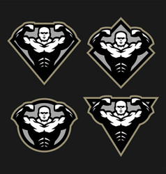 bodybuilder sport fitness logo a set of different vector image