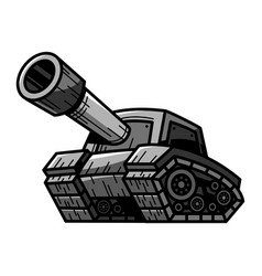 cartoon army tank machine with big cannon ready vector image vector image