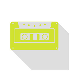 cassette icon audio tape sign pear icon with vector image vector image