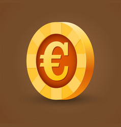 gold coin of euro isolated on dark background vector image vector image