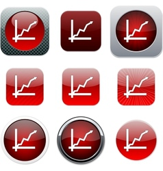 Positive trend red app icons vector image