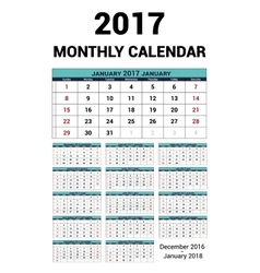 Calendar monthly for 2017 Year Stationery vector image vector image