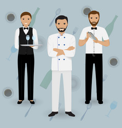 Chef cook waitress in uniform and barman standing vector