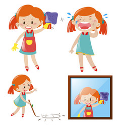 girl doing different actions vector image vector image