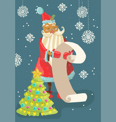 Santa reading a long christmas wish list vector