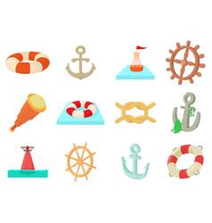 sea object icon set cartoon style vector image