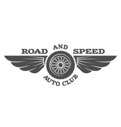 Wheel and wings vintage car emblem badge vector