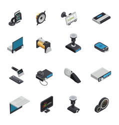 car electronics isometric icons vector image vector image