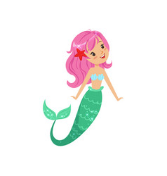 Cartoon mermaid character with pink hair and shiny vector