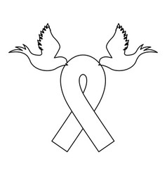 emblem breast cancer ribbon with doves vector image vector image