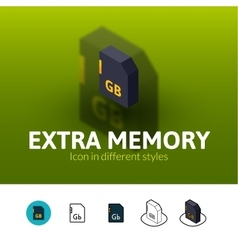 Extra memory icon in different style vector image vector image