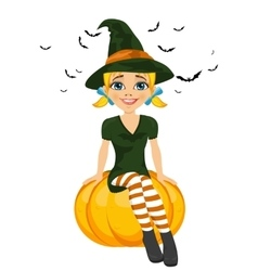 Halloween with a cute witch sitting on pumpkin vector image vector image