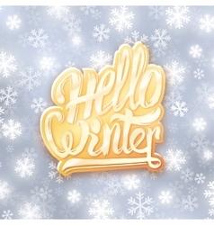 Hello winter golden typography label Greeting vector image vector image