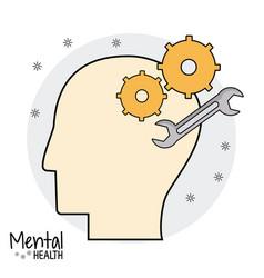 profile head mental health vector image vector image