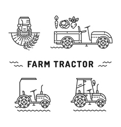 Set logos farm tractor line art style Agriculture vector image vector image