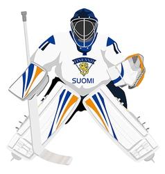 team finland hockey goalie vector image vector image