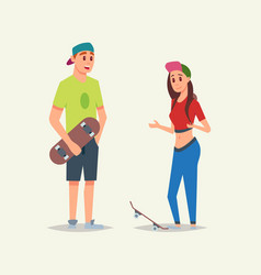 young sportsmanlike skaters boy and girl speaking vector image