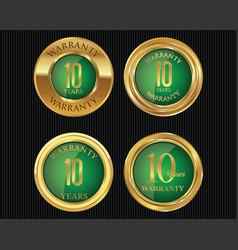 10 years warranty golden labels collection 7 vector image