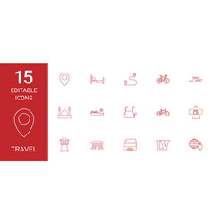 15 travel icons vector image