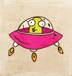 Alien in Spaceship Cartoon vector