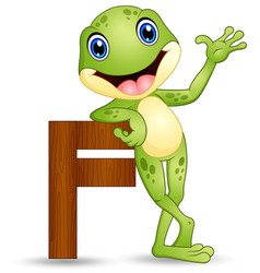 Alphabet f with frog cartoon vector