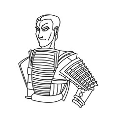 animation warrior man samurai to ancient clothes vector image