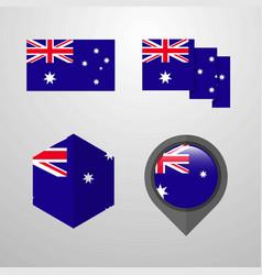 australia flag design set vector image