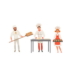 bakers characters set cheerful people in uniform vector image