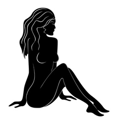 Beautiful female silhouette with flowing hair vector