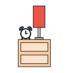 bedside clock alarm and lamp vector image