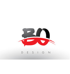 bo b o brush logo letters with red and black vector image