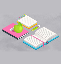 book at school textbook and notebook with apples vector image