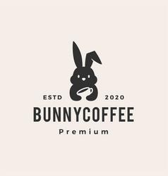 bunny coffee hipster vintage logo icon vector image