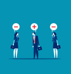 business people with positive and negative vector image