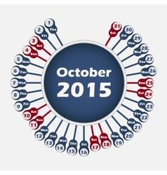 calendar 2015 October template vector image