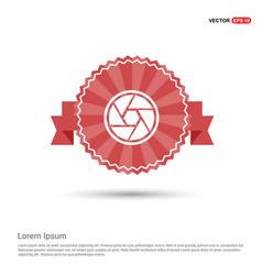 camera shutter icon - red ribbon banner vector image