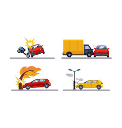 car accidents cars involved in a car wreck flat vector image