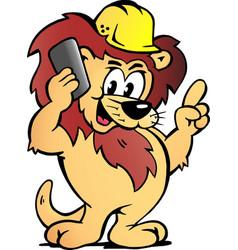 cartoon a lion worker talk business vector image