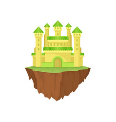 cartoon colorful island castle on white background vector image