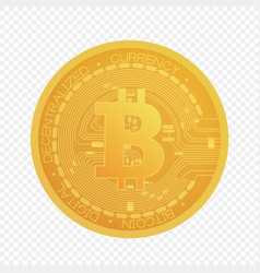 cartoon golden bitcoin coin isolated on vector image