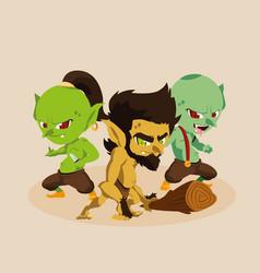 Caveman ugly with trolls fairytale avatar vector
