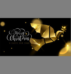 Christmas and new year 3d gold dove bird card vector