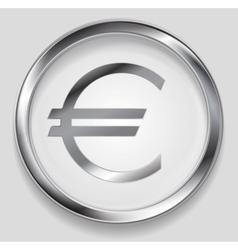 Concept metallic euro symbol logo button vector