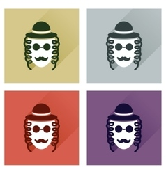 Concept of flat icons with long shadow jewish man vector