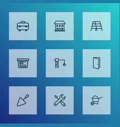 Construction outline icons set collection of door vector