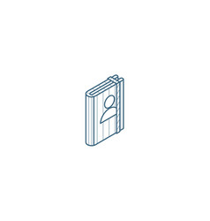 contacts address book isometric icon 3d line art vector image