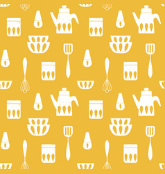 cooking monochrome repetitive background vector image