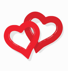 Cute abstract red couple hearts stickers icon vector