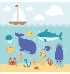 Cute cartoon animals swimming under sea and vector