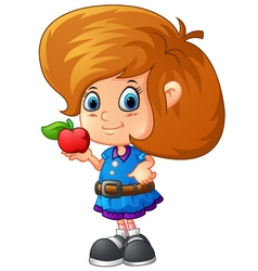 cute girl holding apple vector image